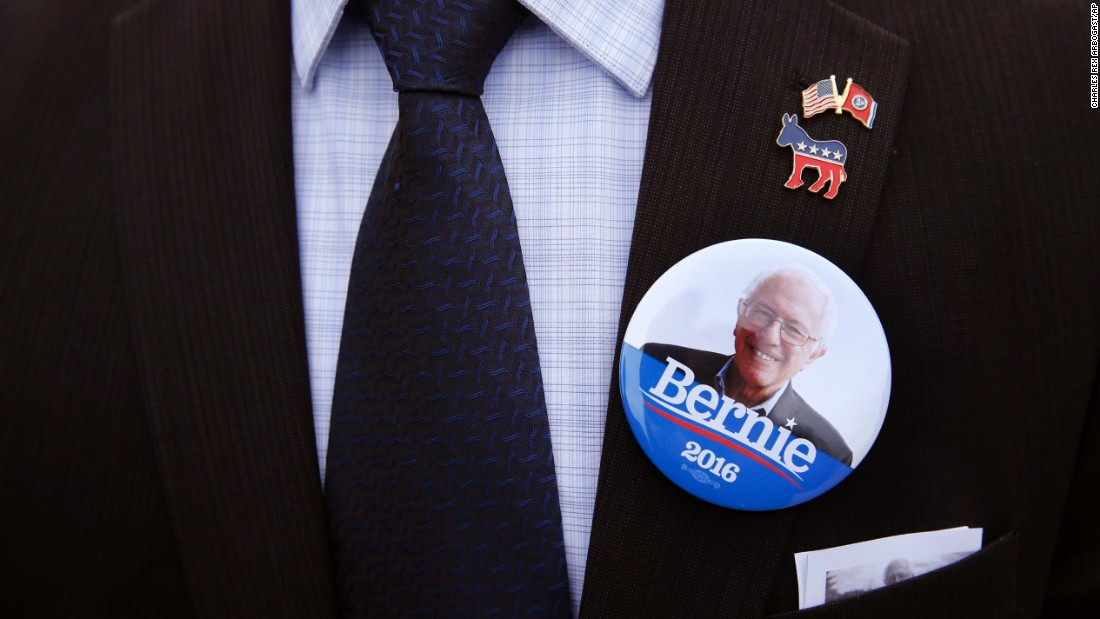 "A Bernie Sanders supporter wears a campaign button before attending the candidate's rally in South Bend, Indiana, on Sunday, May 1. Sanders <a href=""http://www.cnn.com/2016/05/03/politics/indiana-primary-highlights/"" target=""_blank"">won Indiana's Democratic primary</a> the next day."