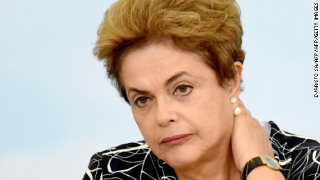 Brazilian President Dilma Rousseff attends the launching ceremony of a new stage of the state-subsidized housing program at Planalto Palace in Brasilia on May 6, 2016. A special committee in Brazil's Senate was to vote Friday on whether to recommend starting an impeachment trial against President Dilma Rousseff who faces being suspended from office in less than a week. / AFP / EVARISTO SA        (Photo credit should read EVARISTO SA/AFP/Getty Images)