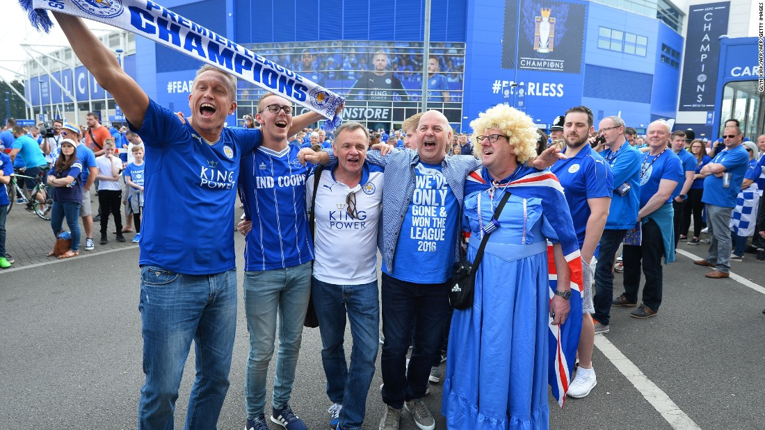 Leicester City supporters turned out on mass to see their heroes lift the English Premier League trophy Saturday.