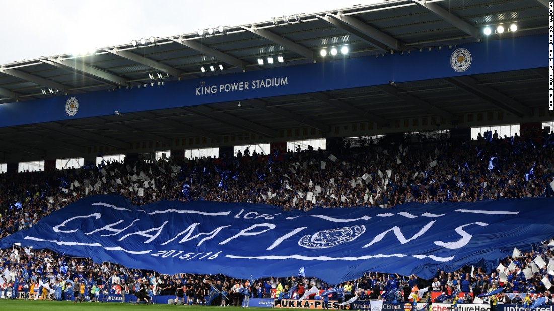 Leicester was playing Everton Saturday in its final home league match of the season, after which it was presented with the EPL trophy.