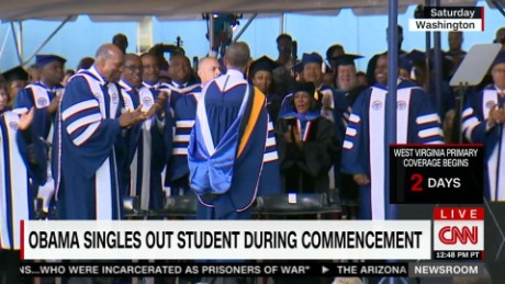 Obama singles out student during commencement speech