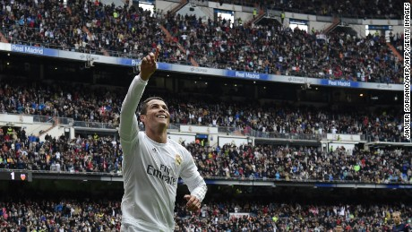 Cristiano Ronaldo celebrates after scoring during Real Madrid's victory over Valencia.