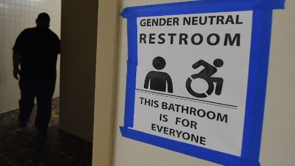 An all-gender restroom at Santee High School in Los Angeles, California.