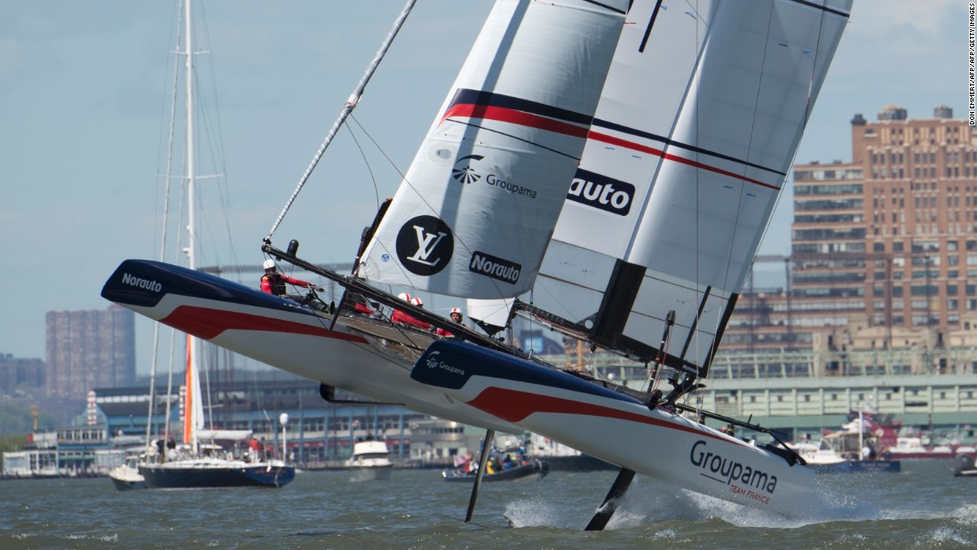 Groupama Team France takes to the waves during Sunday's first race.