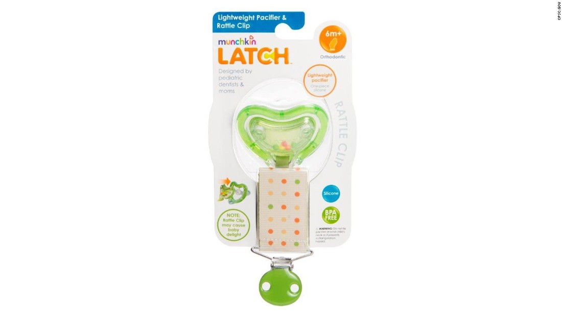 The rattle pacifiers and clips 0-months-plus and 6-months-plus are green with beads in the pacifier cover to make a rattle sound and have a polka-dot strap.