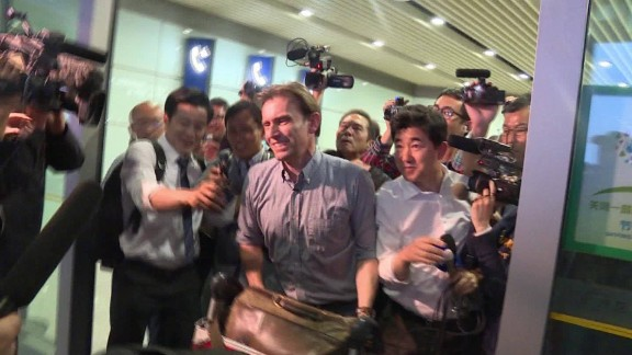 Expelled from North Korea, BBC correspondent Rupert Wingfield-Hayes arrives in Beijing on May 9, 2016.