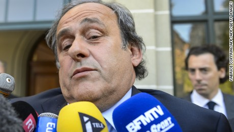 Michel Platini addresses the media as he leaves the Court of Arbitration for Sport (CAS) in April.
