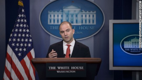 Ben Rhodes, Deputy National Security Advisor to US President Barack Obama, speaks about the President's upcoming trip to Cuba during a daily press briefing at the White House February 18, 2016 in Washington, DC.
