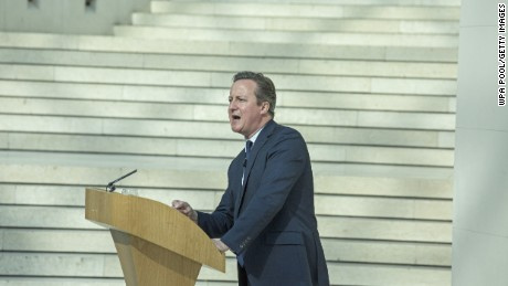 British Prime Minister David Cameron delivers a speech on the European Union (EU), at the British Museum on May 9, 2016 in London, England.