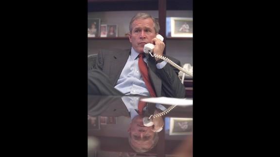 Bush talks on the phone at Barksdale Air Force Base.