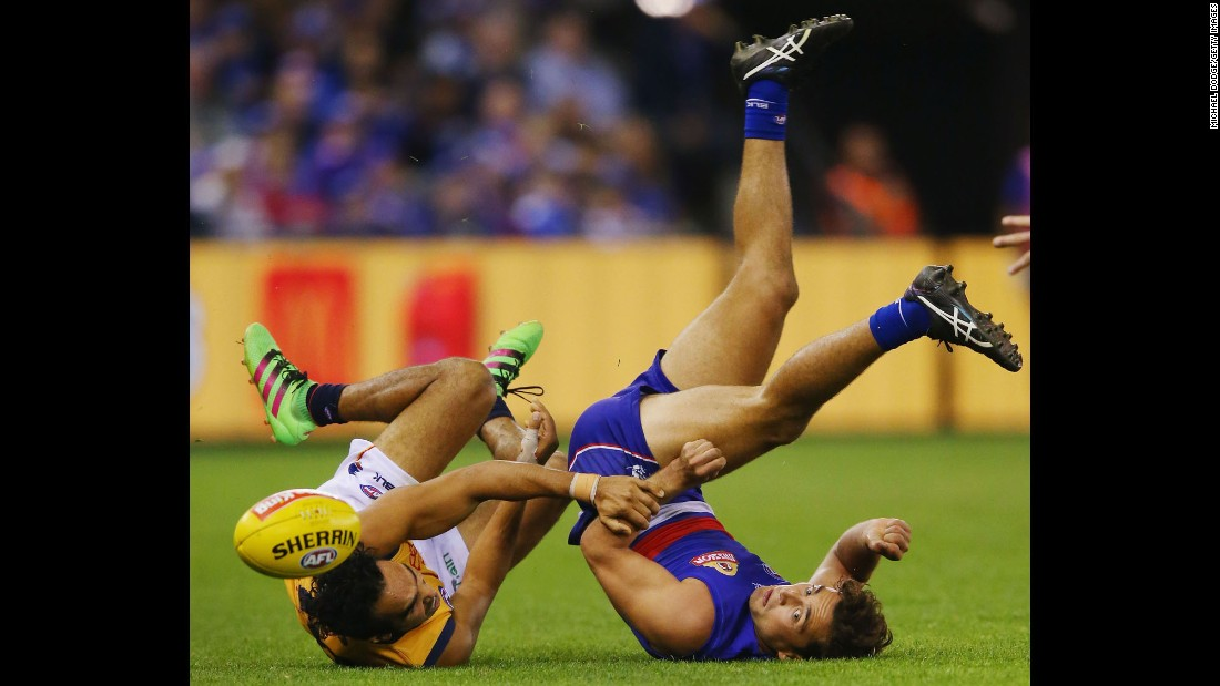 Eddie Betts of the Adelaide Crows, left, competes with Luke Dahlhaus of the Western Bulldogs during an Australian Football League match in Melbourne on Saturday, May 7.