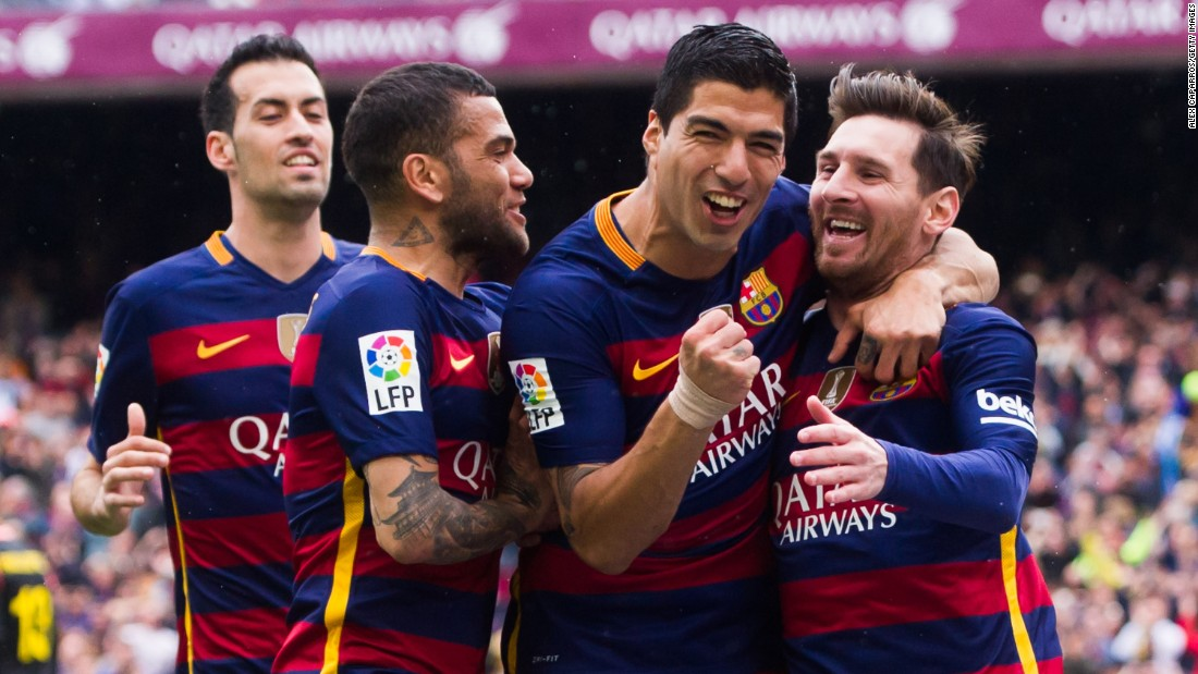 "From left, Barcelona players Sergio Busquets, Dani Alves, Luis Suarez and Lionel Messi celebrate the opening goal against city rivals Espanyol on Sunday, May 8. Barcelona won 5-0. <a href=""http://edition.cnn.com/2016/05/08/football/la-liga-barcelona-real-madrid-atletico-madrid/index.html"">READ MORE: Barca close in on title</a>"