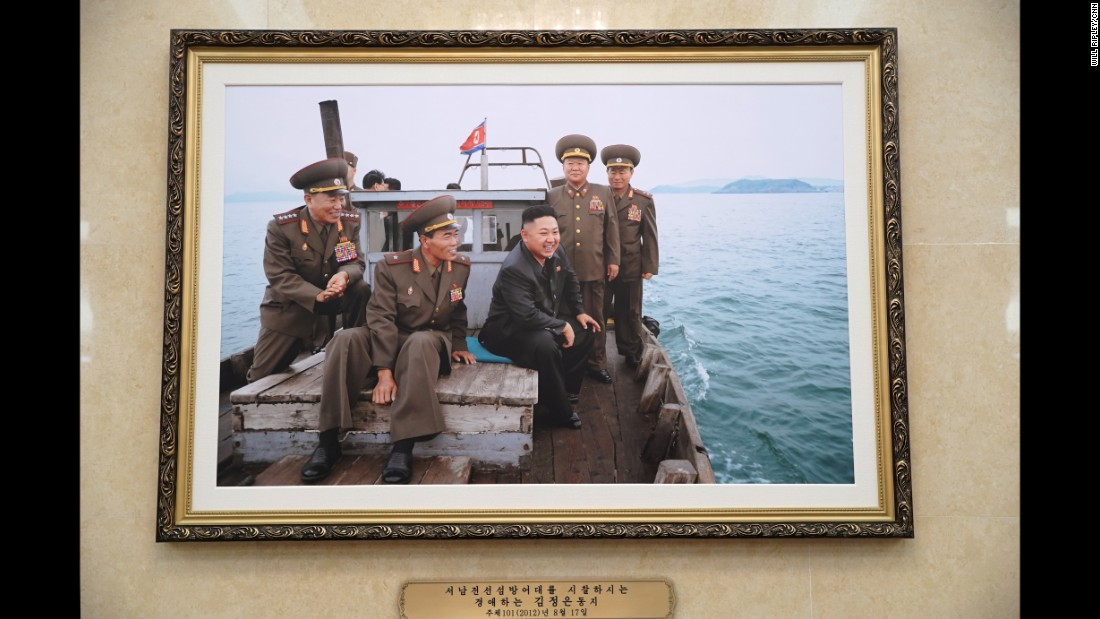 A photograph of North Korean leader Kim Jong Un hangs in the enormous April 25 House of Culture during the 7th Workers' Party Congress in Pyongyang.