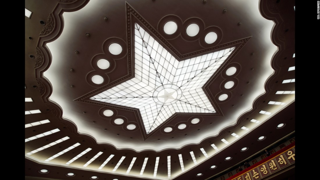 The ceiling in the hall of the April 25 House of Culture is photographed during the 7th Workers' Party Congress.