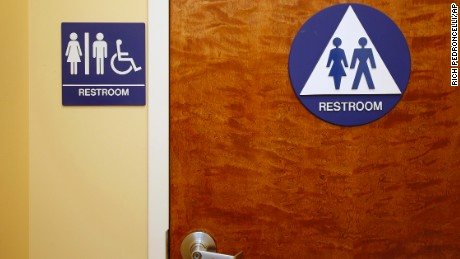 A gender neutral restroom is seen at the Downtown & Vine Restaurant and Wine Bar, Monday, May 9, 2016, in Sacramento.