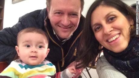 Nazanin Zaghari-Ratcliffe with her husband Richard and daughter Gabriella.