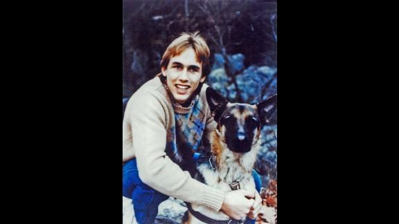 At 17, Erik Weihenmayer's guide dog Wizard helped him navigate his surroundings.