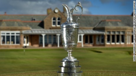 TROON, SCOTLAND - APRIL 26: The Claret Jug in front of The Royal Troon Club House during the Open Championship Media Day at Royal Troon on April 26, 2016 in Troon, Scotland. (Photo by Mark Runnacles/Getty Images)