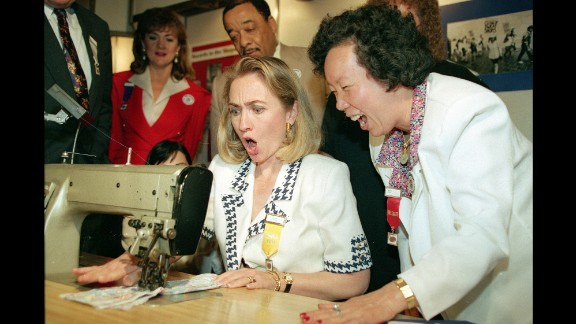 In June 1992, Clinton uses a sewing machine designed to eliminate back and wrist strain. She had just given a speech at a convention of the International Ladies