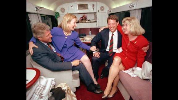 During the 1992 presidential campaign, Clinton jokes with her husband