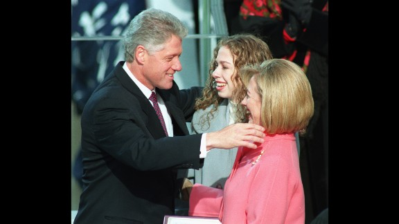 The Clintons hug as Bill is sworn in for a second term as President.