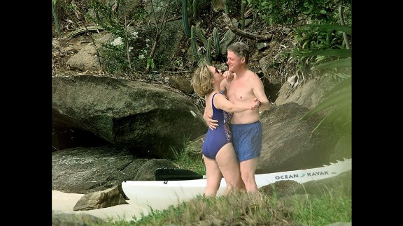 The Clintons dance on a beach in the U.S. Virgin Islands in January 1998. Later that month, Bill Clinton was accused of having a sexual relationship with former White House intern Monica Lewinsky.