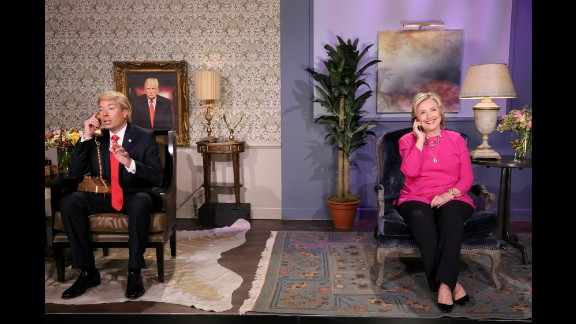 "Clinton, now running for President again, performs with Jimmy Fallon during a ""Tonight Show"" skit in September 2015."