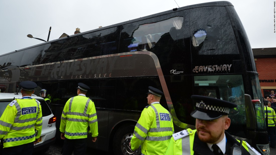 Objects were thrown at the bus carrying the visiting Manchester United team, and the kickoff time was subsequently delayed by 45 minutes.