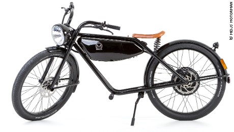 The MEIJS Motorman's battery fits neatly where the gas tank would sit on a conventional motorbike.