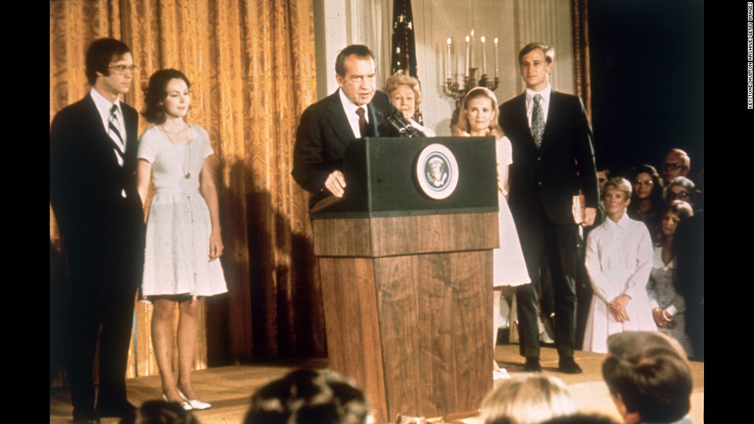 "<strong>Richard Nixon:</strong> In 1974, five years after he was first elected, Nixon became the first U.S. President to resign from office. He stepped down after the <a href=""http://www.cnn.com/2015/06/15/living/the-seventies-times-reports-on-watergate/"" target=""_blank"">Watergate scandal,</a> which stemmed from a break-in at the Democratic National Committee office during the 1972 presidential campaign."