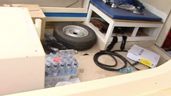 The interior of the boat authorities say the five men were planning to use to escape Australia.