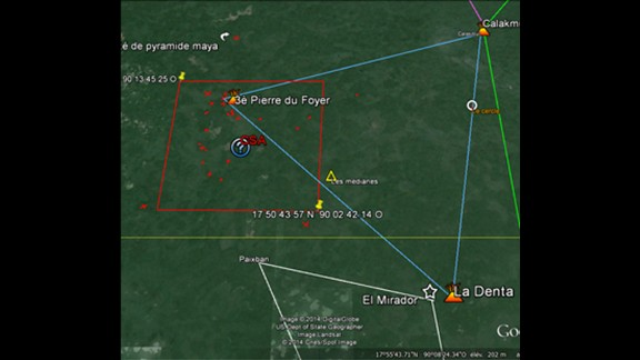 Satellite imagery showing the alignment of constellations over the discovered site