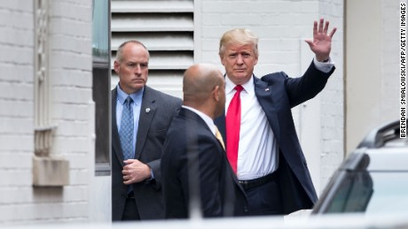 Republican US Presidential candidate Donald Trump arrives for a meeting at the National Republican Congressional Committee May 12, 2016 in Washington, DC.