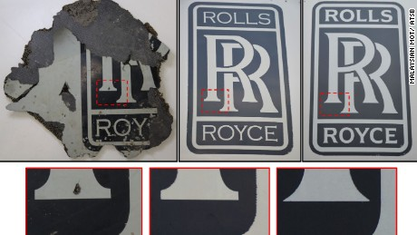 Part no. 3 was identified as a Rolls Royce engine cowling segment, almost certainly from the aircraft.
