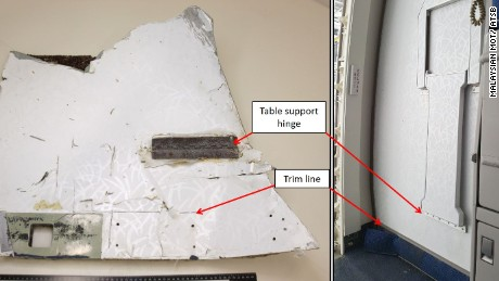 Part no. 4 was identified as a Boeing 777 panel segment from the main cabin.