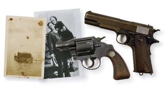 Bonnie Parker and Clyde Barrow, the notorious couple who murdered and robbed their way to infamy in the 1930s, were gunned down by police in Louisiana in 1934. A Colt .38 snub-nosed revolver was found taped to Parker's inner thigh, and a Colt .45 was found on Barrow's waistband. In 2012, Parker's weapon was sold at auction for $264,000, and the other sold for $240,000.