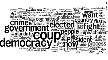 Suspended Brazilian President Dilma Rousseff went on the offensive Thursday morning after senators voted to begin an impeachment trial against her. Here's a look at the most prominent words the embattled leader used in two speeches as she made her case in the court of public opinion, based on CNN's translations of her remarks.