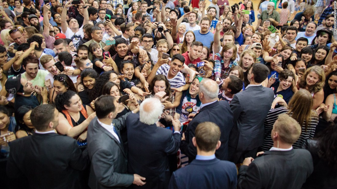U.S. Sen. Bernie Sanders, who is seeking the Democratic Party's presidential nomination, greets supporters during a campaign rally in Salem, Oregon, on Tuesday, May 10.