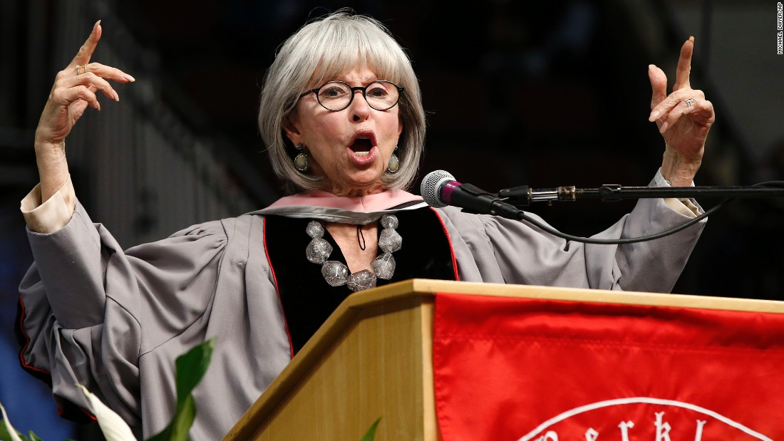 "Actress Rita Moreno raps part of <a href=""https://www.youtube.com/watch?v=IVfAWEI-i0A"" target=""_blank"">her commencement address</a> at Boston's Berklee College of Music on Saturday, May 7."