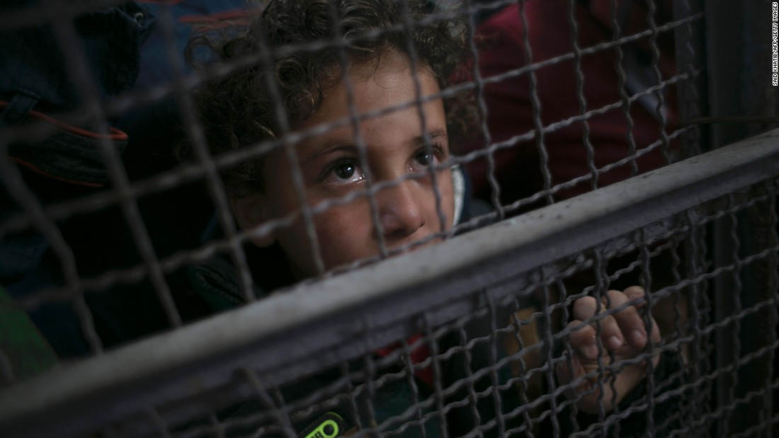 A Palestinian child in Gaza waits at the Rafah border crossing with Egypt on Wednesday, May 11. The crossing point -- the only crossing point between Gaza and Egypt -- was reopened by Egypt for two days.