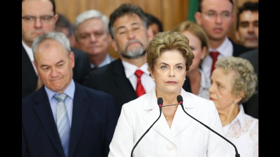 Suspended Brazilian President Dilma Rousseff speaks to supporters