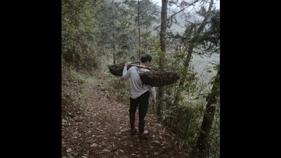 Yu Guojiang, 63, carries manure to his field in China's Yeli village. His wife and son have already left as part of China's plans to move 2 million villagers into the cities of Guizhou province. The aim of the government is to ease rural poverty and narrow the income inequality gap.