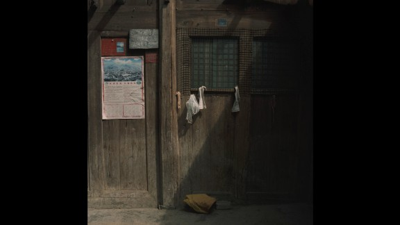 The front of a wooden house in Yeli.