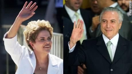 Brazil President Dilma Rousseff and acting President Michel Temer. A newly appointed member of Temer's Cabinet will take a leave of absence.