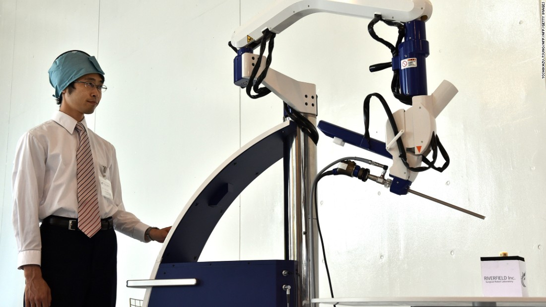 "Pictured is the world's first<a href=""http://www.titech.ac.jp/english/news/2015/031929.html"" target=""_blank""> pneumatically controlled endoscope robot</a> which can assist in low invasive surgery. A sensor in the surgeon's cap gives them control of the camera's movement while operating."