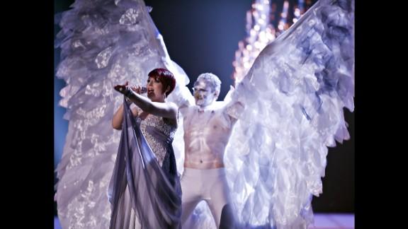 Thea Garrett of Malta rehearses at Eurovision in 2010.
