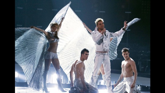 Bulgarian singer Miroslav Kostadinov tackles a dress rehearsal at Eurovision in 2010.