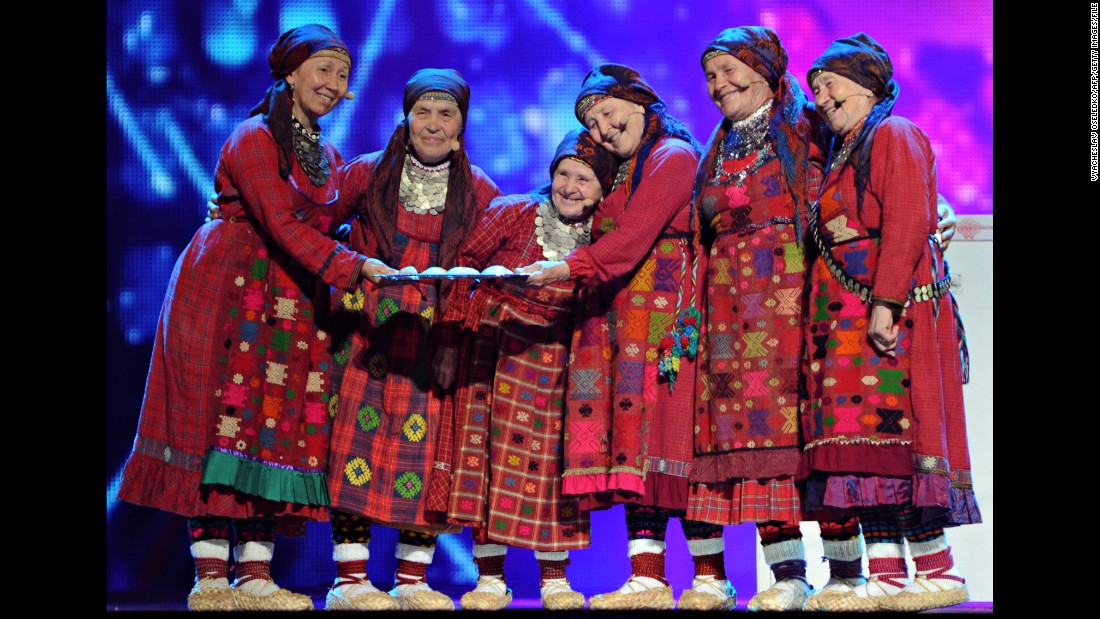 Russian group Buranovskiye Babushki (Buranovo Grannies) make an impression at a Eurovision dress rehearsal in 2012.