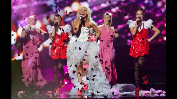 Finland's Krista Siegfrids performs at a dress rehearsal at Eurovision in 2013.
