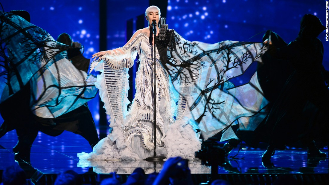 Eurovision has always been a stage for outlandish costume design. Here, Croatia's Nina Kraljic rehearses during the jury show Monday, May 9, in Stockholm, Sweden. Check out standout costumes from this year's song contest and previous competitions: